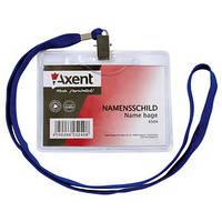 Бейдж на шнурке горизонтальный прозрачный AXENT 4504 100х80мм