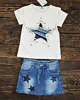 Костюмчик футболка+ джинс.юбка