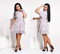 """Элегантное летнее короткое платье в больших размерах 256 """"Софт Цветы Крылышки Оборка"""""""