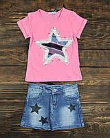 Костюмчик футболка+ джинсовая юбка