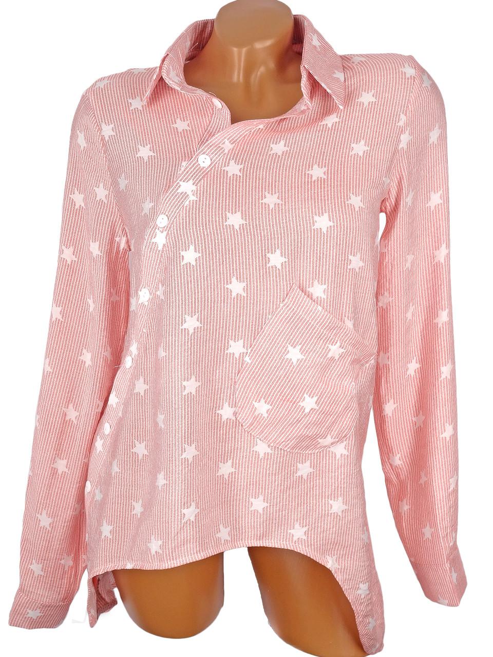 Ассиметричная рубашка в звезды (в расцветках)