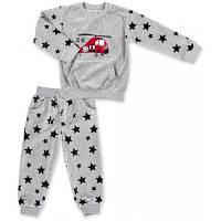 Набор детской одежды Breeze велюровый с вертолетом и штанишками в звездочку (8113-98/B-gray)