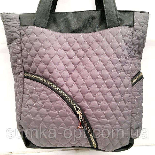 Стеганные сумки оптом из плотной ткани,водонепроницаемая (серый)30*36