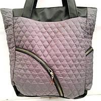 Стеганные сумки оптом из плотной ткани,водонепроницаемая (серый)30*36, фото 1