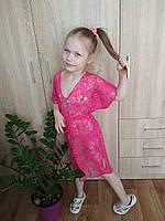Пляжная туника малинового цвета из гипюра с разрезами по бокам для девочки р. L, ХXL