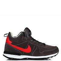 """Мужские кроссовки Nike Internationalist """"Black/Red"""" С МЕХОМ"""