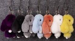 Брелок Кролик из меха, Пушистый кролик- брелок, Брелок на сумку кролик,  Заяц брелок большой