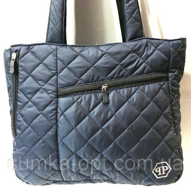Стеганные сумки оптом из плотной ткани,водонепроницаемая (синий)30*35