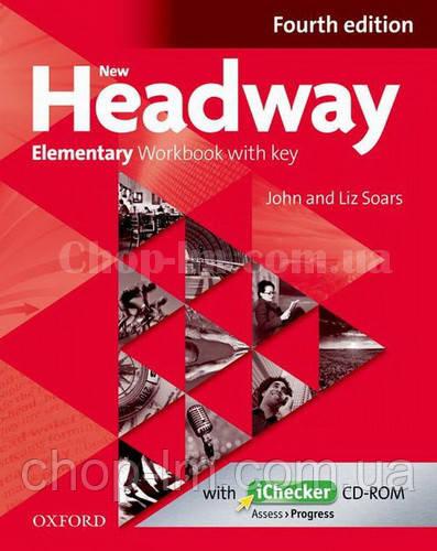 New Headway Elementary Fourth Edition Workbook + iChecker with Key (тетрадь с диском и ключами, 4-е издание)
