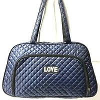 Стеганные сумки оптом из плотной ткани,водонепроницаемая (синий)25*42, фото 1
