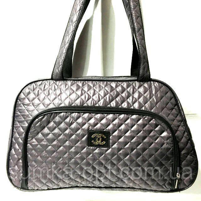 Стеганные сумки оптом из плотной ткани,водонепроницаемая (серый)25*42
