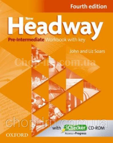 New Headway Pre-Intermediate Fourth Edition Workbook + iChecker with Key (тетрадь с диском и ключами, 4-е изд)
