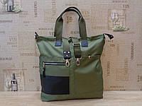 """Женская сумка  городская большая """" Милитари"""" из """" Оксфорда"""" и кожи."""