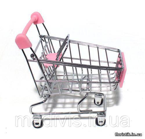 Декоративная мини-тележка (игрушка) розовая