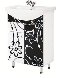 Тумба для ванной комнаты Ромашка черно-белая