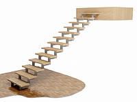 Прямой железный каркас маршевой лестницы на ломаных косоурах. В дом. На 2 этаж. На заказ