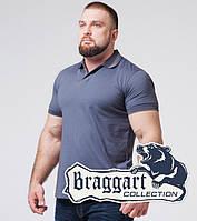 Braggart | Футболка поло большого размера из хлопка 6635-1 серо-синий, фото 1
