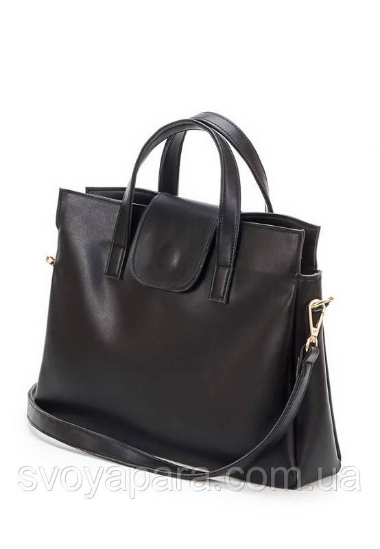 Женская сумка из экокожи чёрного цвета с двумя основными отделениями
