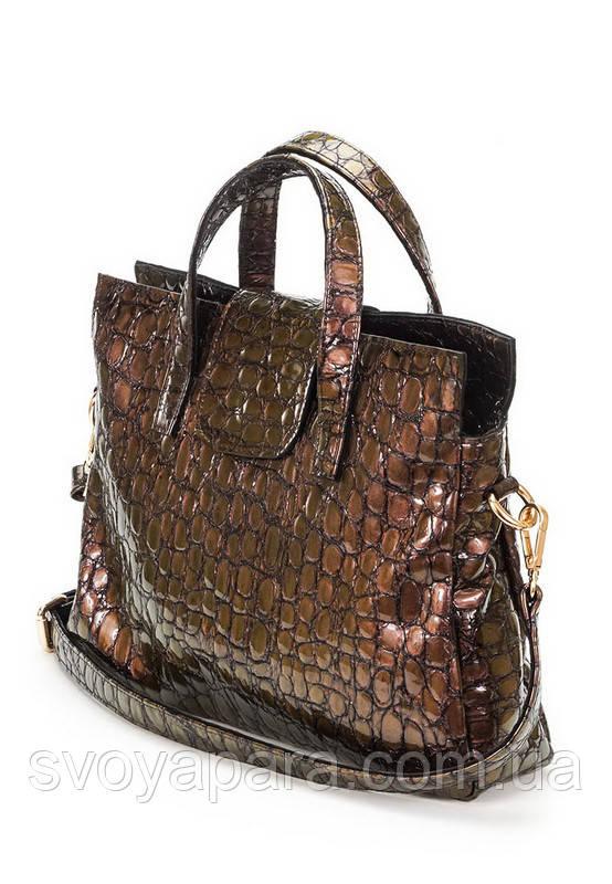 Женская сумка из натуральной кожи коричневого цвета с тиснением под крокодила