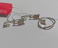 Комплект Стрела из серебра и золота с цирконами, фото 1