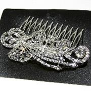 Металлический гребешок для волос с камнями чешское стело, украшение на свадьбу(выпускной), длина: 11 см