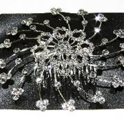 Металлический гребешок для волос с камнями чешское стело, украшение на свадьбу(выпускной), длина: 10 см