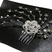 Металлический гребешок для волос с камнями чешское стело, украшение на свадьбу(выпускной), длина: 13 см