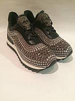Кроссовки в стиле Philipp Plein в стразах с черепом серого цвета , копия