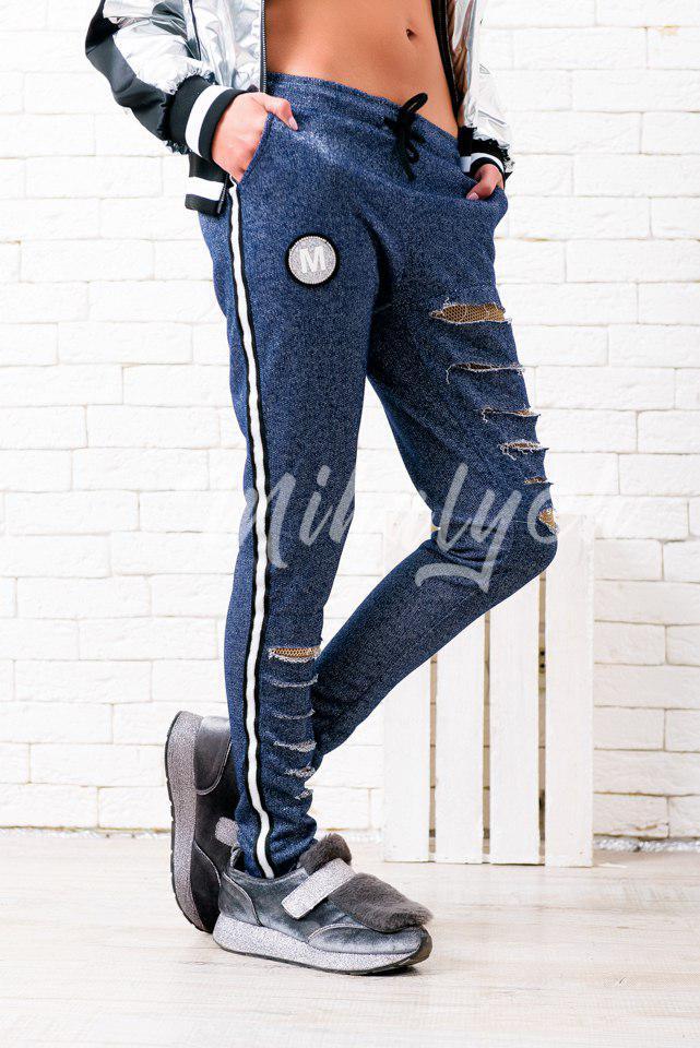 Женские  спортивные штаны с разрезами / 5 цветов арт 4807-34