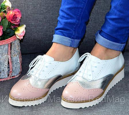 Женские туфли - натуральная кожа белый лак