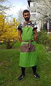 Фартук мужской , зеленый с коричневым карманом