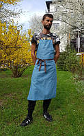 Фартук мужской , синий с синим  карманом