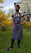 Фартук мужской льняной , джинсового цвета