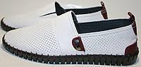 Летние мужские туфли - белые мокасины Pandew