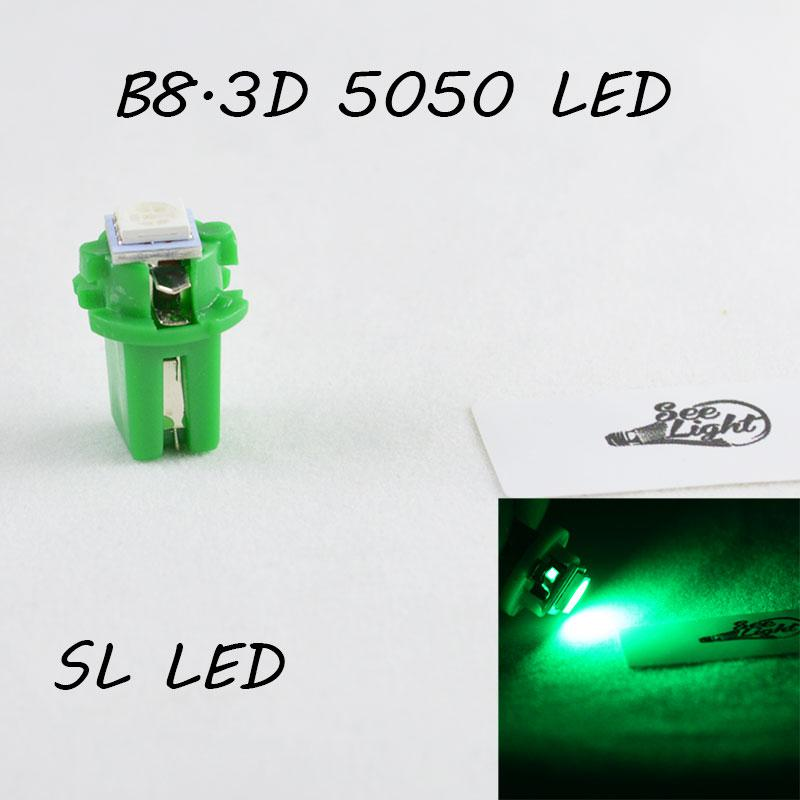LED лампа в подсветку приборной панели, цоколь B8.3D SL LED зеленый