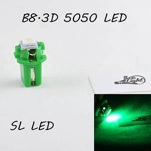 LED лампа в подсветку приборной панели, цоколь B8.3D SL LED зеленый, фото 2