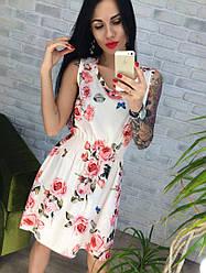 Летнее платье в розочку