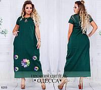 Летнее стрейчевое платье лен 52 54