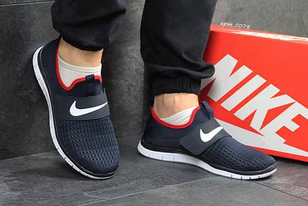 58c7ccd7289e Мужские кроссовки летние Nike Free Run 3.0 сетка,темно синий с белым, фото 2