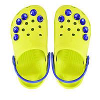 Детские кроксы. Лимонные. Синие камушки. 116141