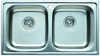Мойка врезная прямоугольная двойная нержавеющая сталь декор 78*43