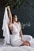 Женский комплект для дома - пеньюар и халатик из атласа с кружевом   4  цвета арт 9416571229b03
