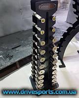 Гантельный ряд никелированный со стойкой FG 0.5-10 кг (11 пар)