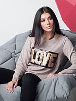 Модная женская кофточка LOVE из ангоры пудрового цвета