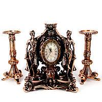 Каминные часы Фемида и 2 высоких подсвечника