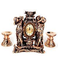 Каминные часы Купальщицы и 2 подсвечника для широкой свечи