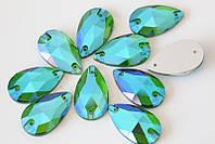 Стразы - капли (пришивные), цвет Emerald AB 11х18 мм. 1 шт., фото 1