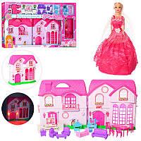Домик 668-8A 34-34-15 см, звук, свет, мебель, кукла  28 см, 3 цвета, на батарейке, в коробке 88-51-9,5 см