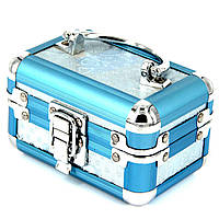 Шкатулка для украшений и косметики бабочки люкс голубая маленькая 8151