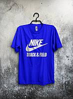 Синяя мужская футболка Nike с оригинальным принтом